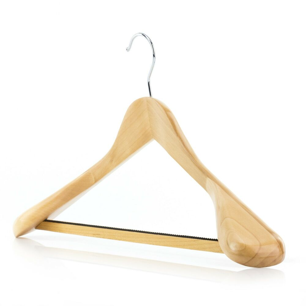 Premium wooden suit hangers coat clothes non slip trouser for What to do with extra clothes hangers