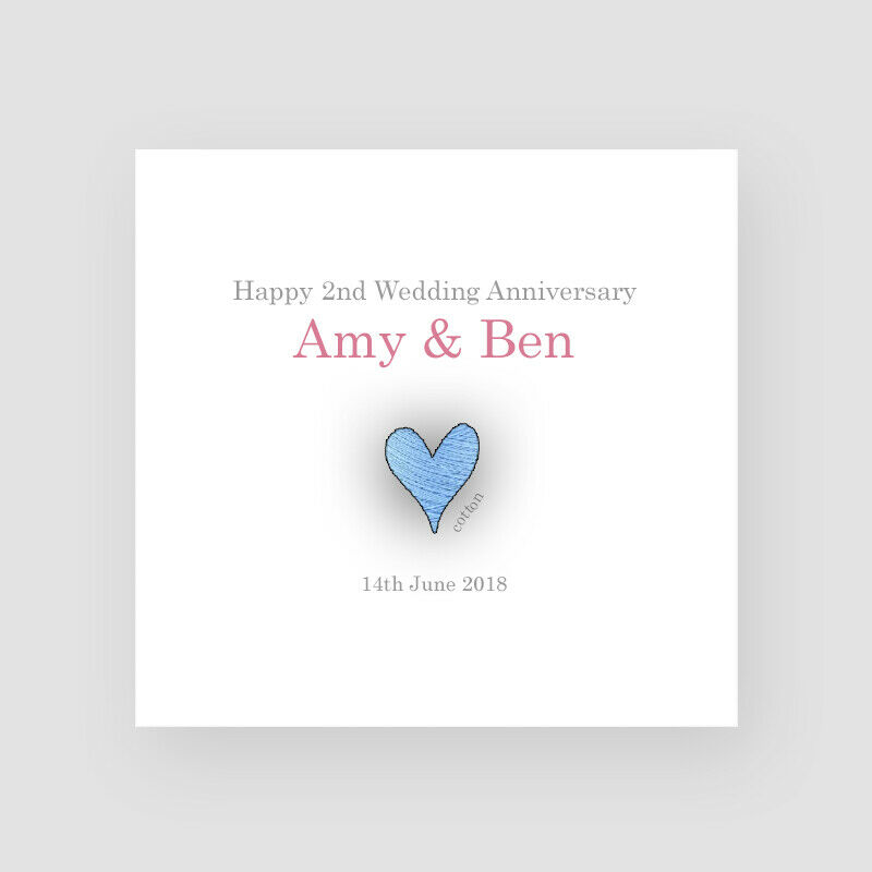 2nd Wedding Anniversary Ideas Cotton : ... 2nd Wedding Anniversary Card - Cotton Second Love Couples eBay
