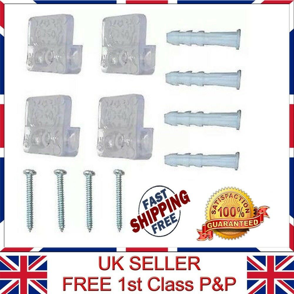 4pcs Transparent Mirror Wall Mounting Clips Kit Clear