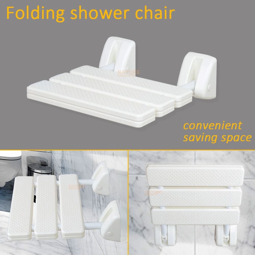 Folding Shower Chair Wall Mounted Solid Seat White Spa