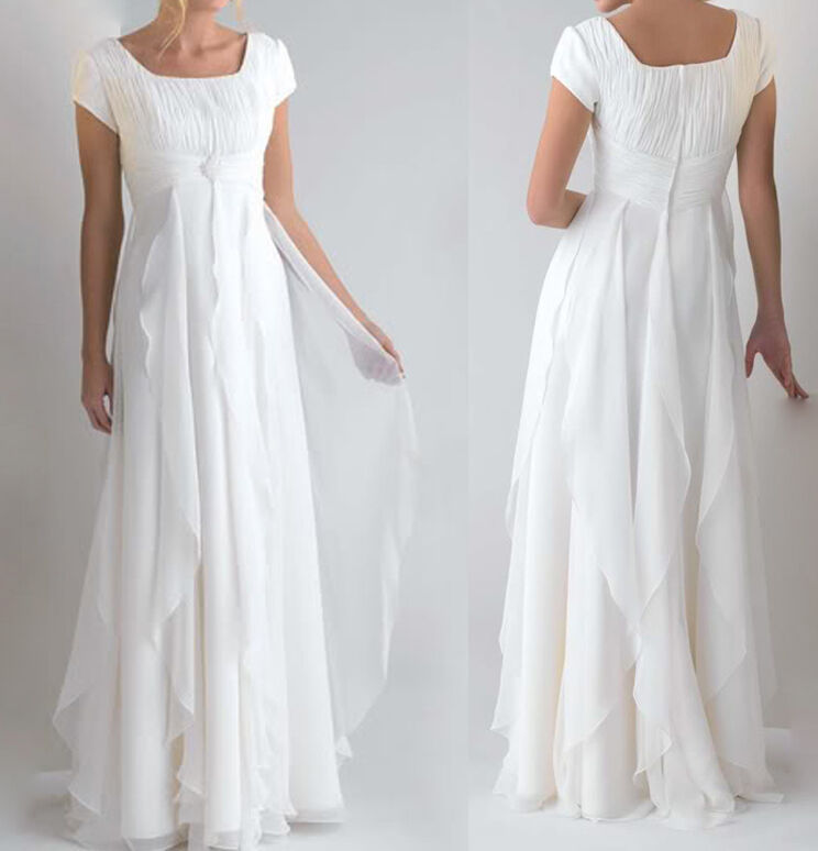 Modest Short Sleeves White Ivory Chiffon Bridal Gown Wedding Dress ...