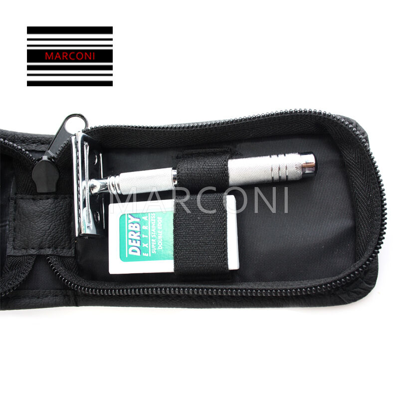 Merkur 46C 3-Piece Travel Razor in Leather Case - Fendrihan |Razor Travel Case