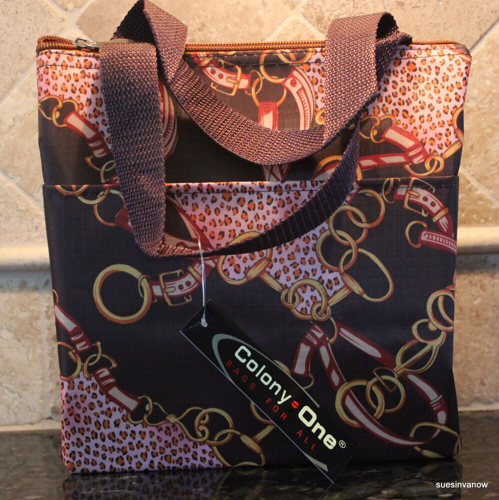 lunch tote insulated chains brown strap pocket designer