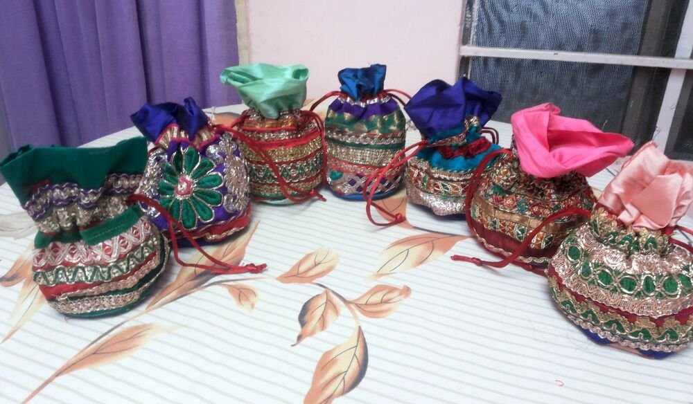 Wedding Gift Bags Wholesale: 100 Pc Wedding Favour Gift Packing Potli Tote Indian