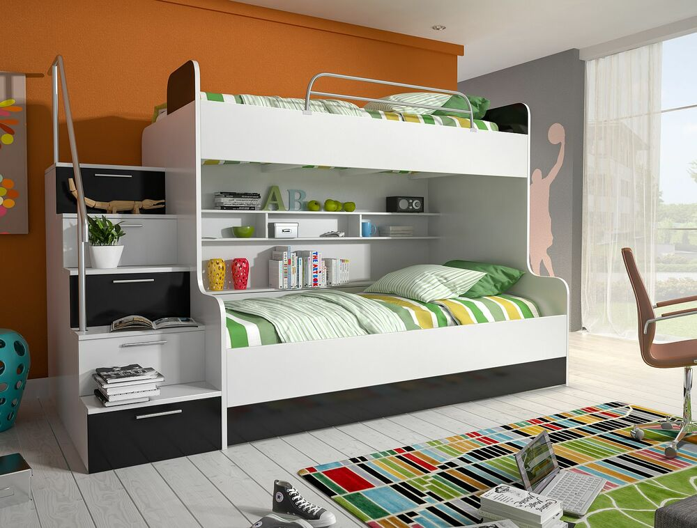 etagenbett doppelstockbett hochglanz weiss schwarz kinderbett hochbett ebay. Black Bedroom Furniture Sets. Home Design Ideas