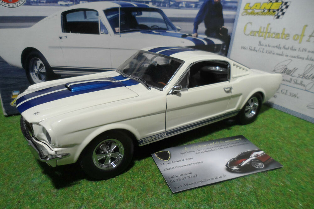 ford mustang shelby gt 350 1965 blanc bandes bleu 1 18 exact detail lane voiture ebay. Black Bedroom Furniture Sets. Home Design Ideas