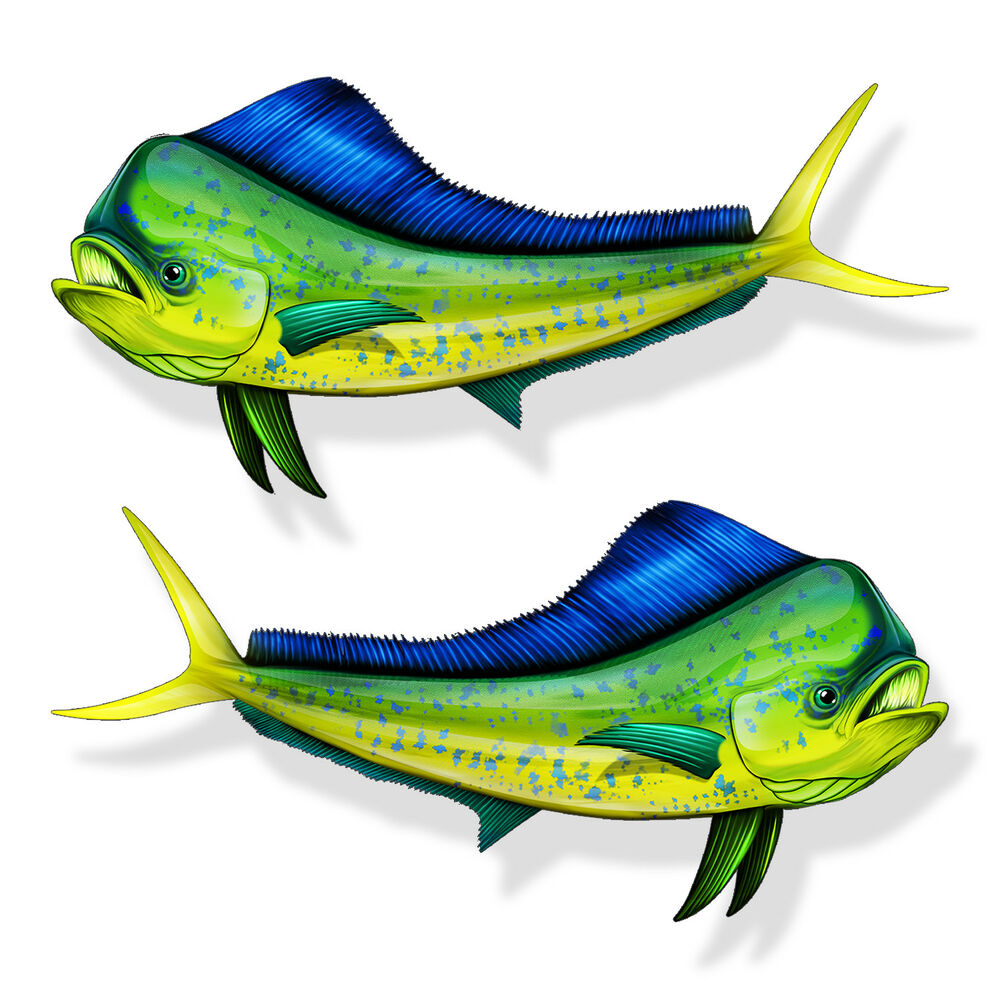 Mahi fish dolphin sticker car truck cup laptop boat kayak for Fishing boat decals