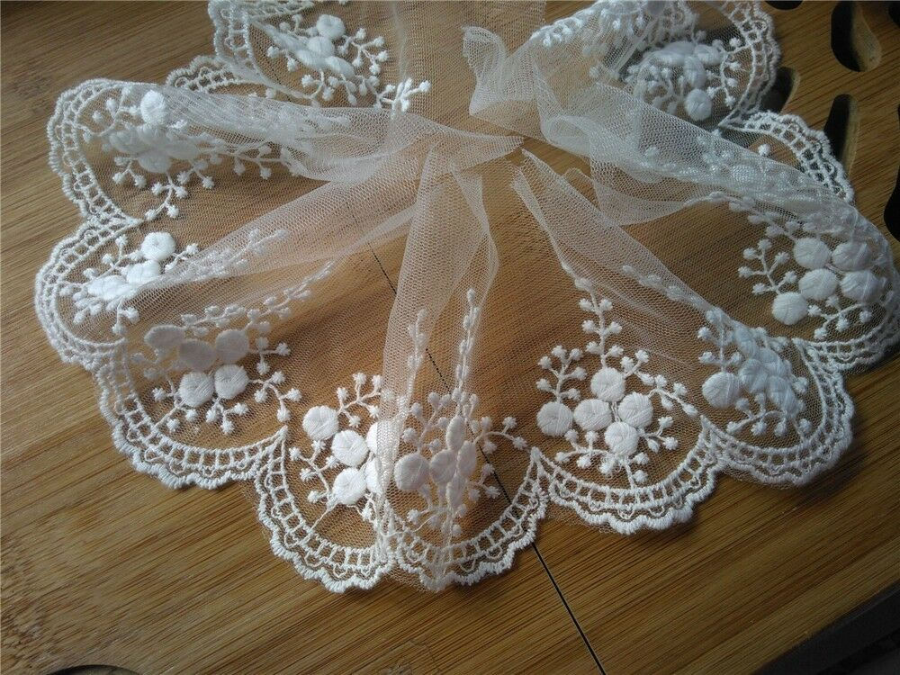 "3Yards*4"" White Vintage Lace Trim -ivory Embroidered"
