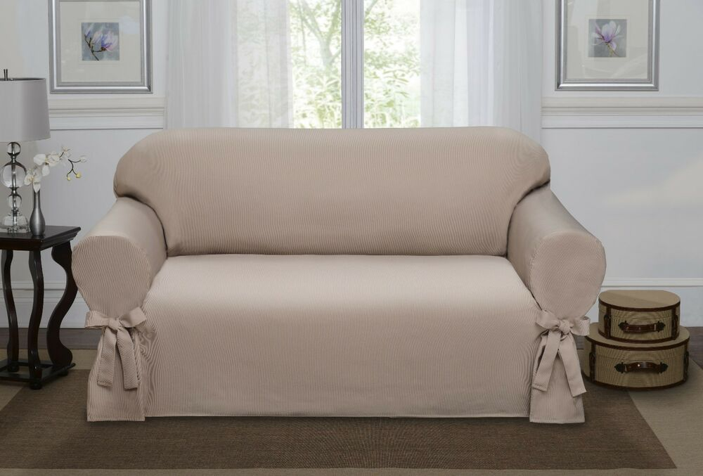 sand lucerne love seat slipcover couch cover sofa love seat chair 4 colors ebay. Black Bedroom Furniture Sets. Home Design Ideas