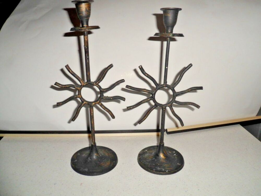Wrought Iron Candle Holders Pair Sun Celestial Tapers Ebay