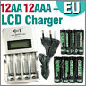 12 AA 12 AAA 1350 3000 mAh Go!Green + Quick LCD Rechargeable battery charger EU