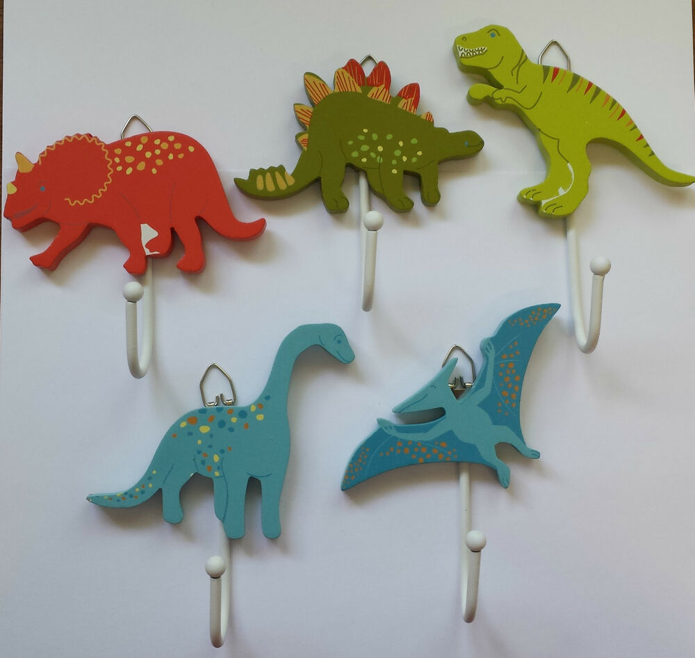 Wooden painted dinosaur hooks hook childrens kids bedroom coat door sass belle ebay - Kids decorative wall hooks ...