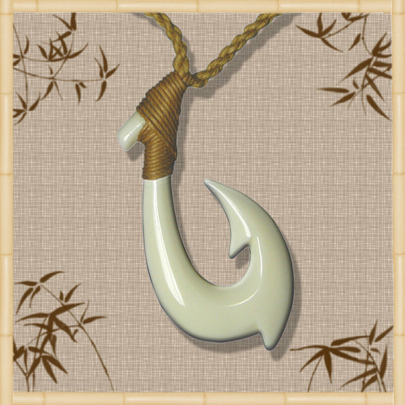 Handmade mens sports white bone fish hook necklace for Fish hook necklace