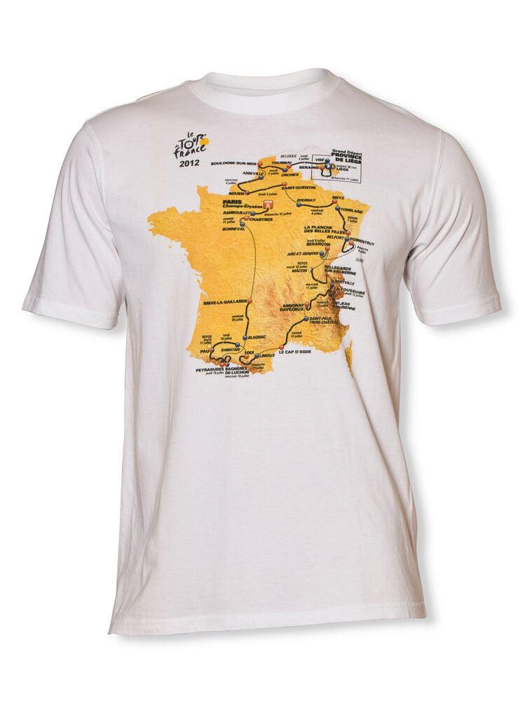 Tour de france 2012 course map t shirt official apparel for The tour jacket polo shirt