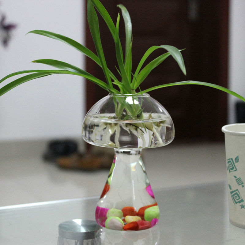 Mushroom glass plant flower vase water container wedding for Plant with fish in vase