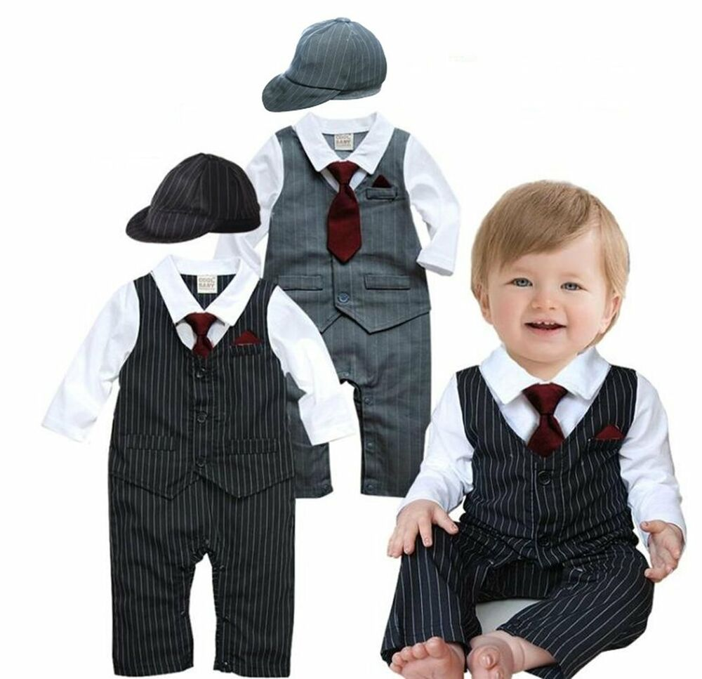 Baby Boy Wedding Formal Tuxedo Suit Striped Romper Outfit Clothes+ ...