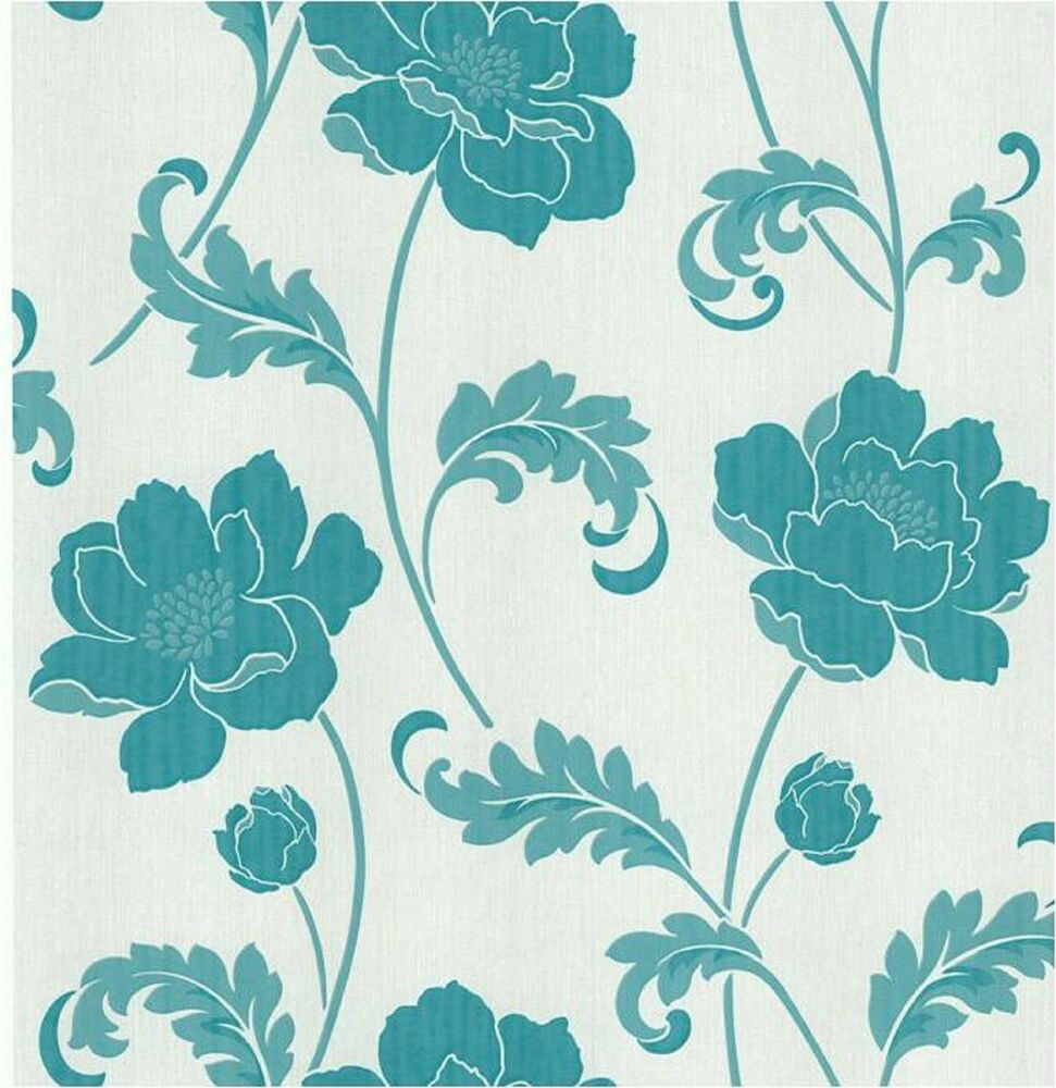fine decor fd20334 luxury heavyweight classics floral wallpaper teal ebay. Black Bedroom Furniture Sets. Home Design Ideas