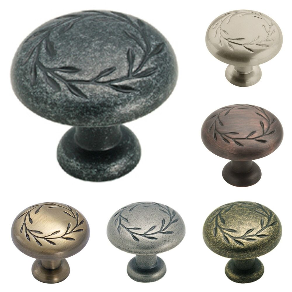 Amerock inspiration leaf design kitchen cabinet hardware for Kitchen cabinets knobs