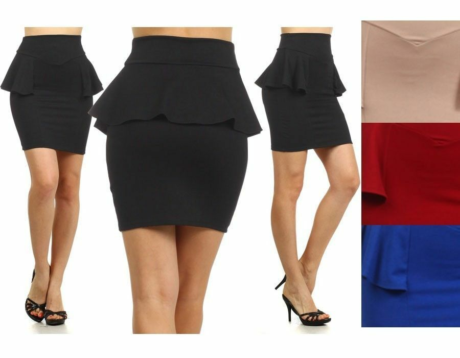 High Waist Bodycon Pencil Sexy Fitted Frill Stretch Peplum Skater ...