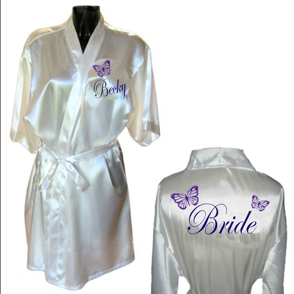 personalised butterfly satin wedding robe dressing gown With robe wedding