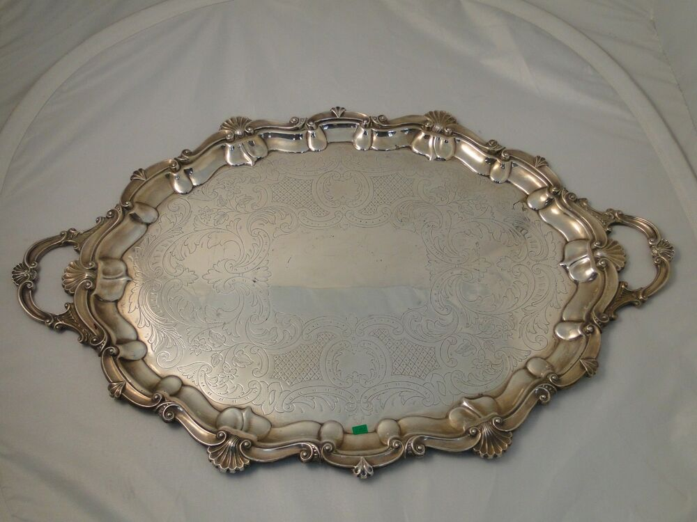 LARGE TRAY SILVER PLATED CIRCA 1860 ANTIQUE ENGRAVED CAST ...