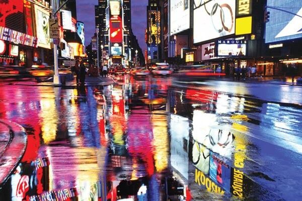 times square new york city lights in puddles poster art print a31831 ebay. Black Bedroom Furniture Sets. Home Design Ideas