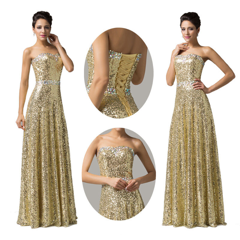 Slim fit ladies golden dress formal cocktail evening ball gowns
