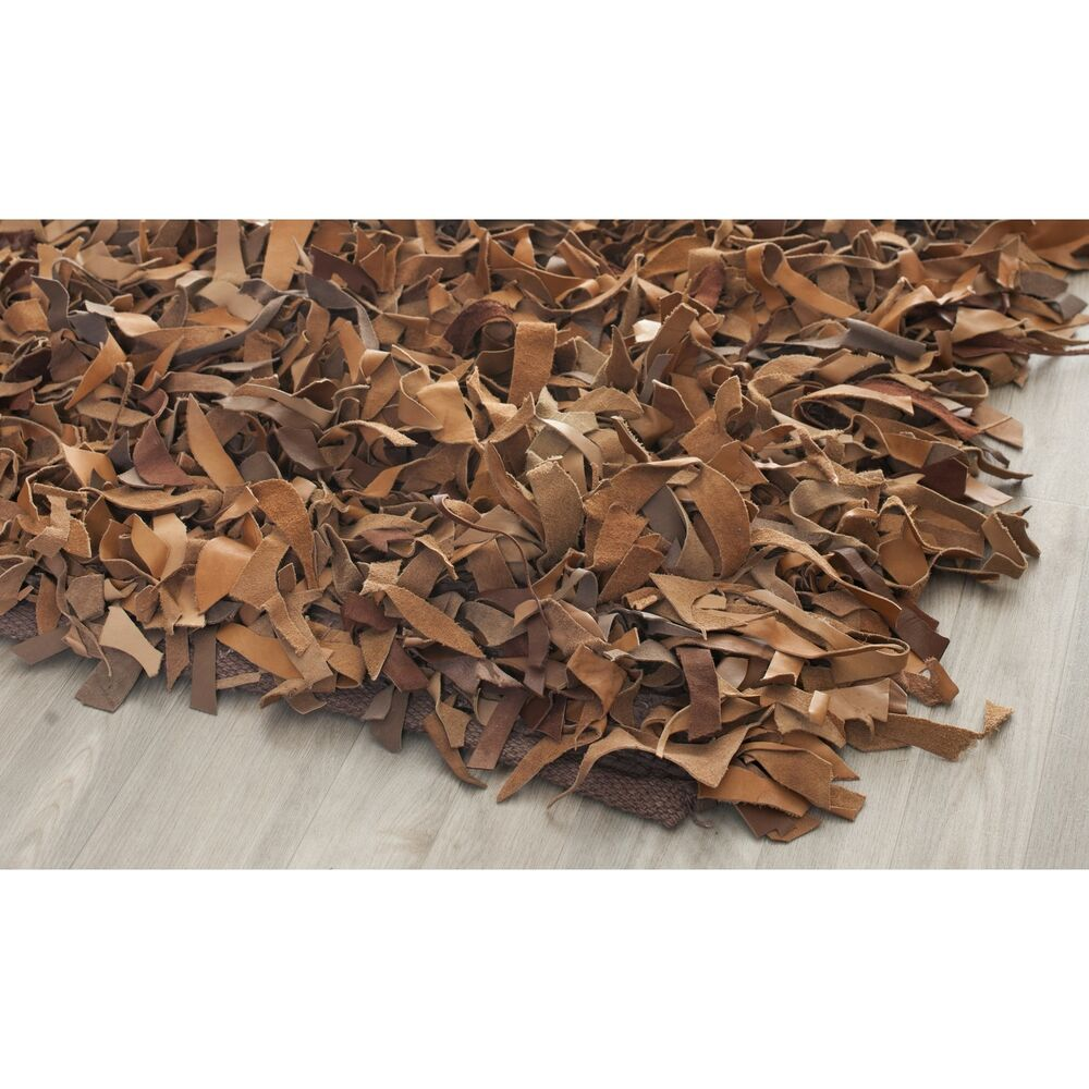 Throw Rugs Ebay: Safavieh Hand-Knotted Brown Leather Shag Area Rug
