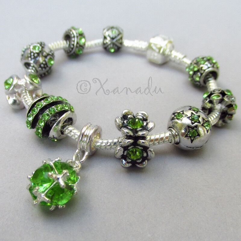 Birthstone Charm Bracelet: Green Peridot Birthstone European Charm Bracelet With For