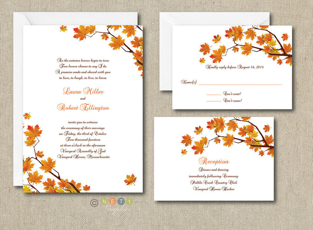 Free Personalized Wedding Invitations: 100 Personalized Custom Fall Autumn Wedding Invitations