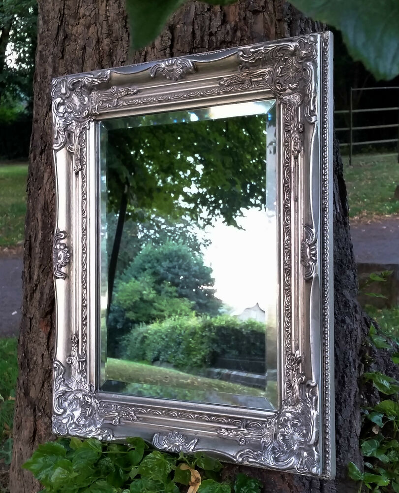 Ornate french vintage style antique silver wall mirror for Old style mirror