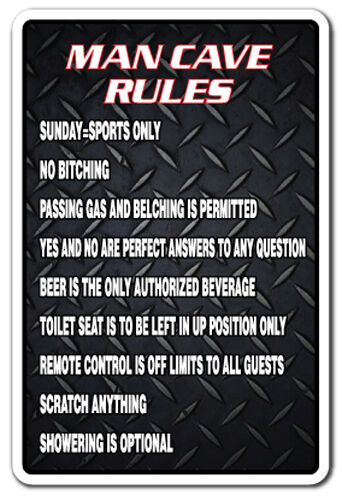 Man Cave Signs For Garage : Man cave rules parking sign gag novelty gift funny manroom