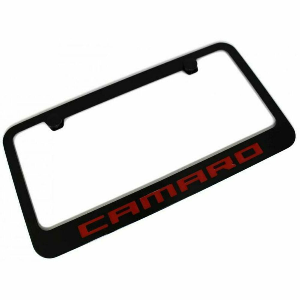 Red Chevy Camaro License Plate Frame Tag Black Powder