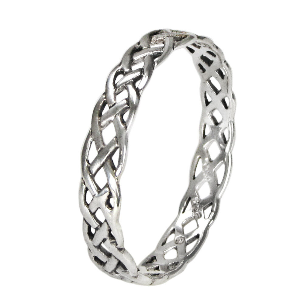 small narrow woven celtic knot ring band sz 4 15 sterling