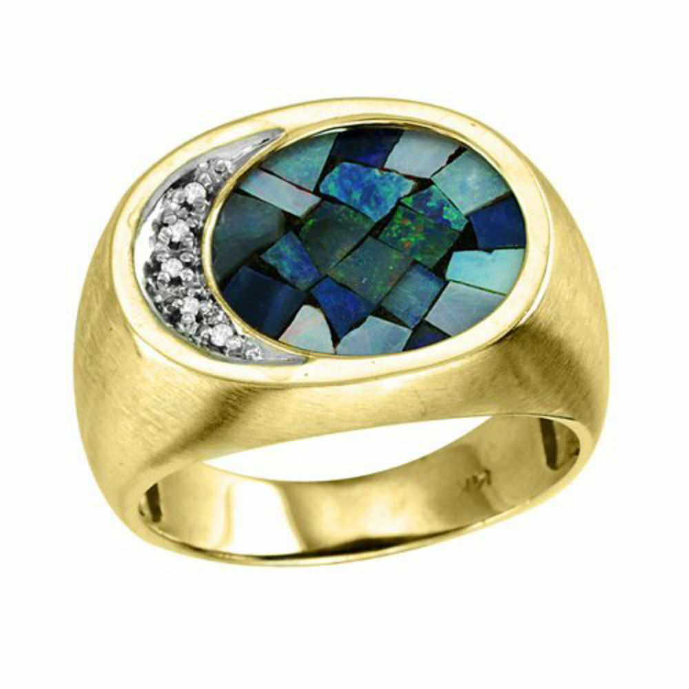 mens mosaic opal diamond ring gold plated sterling. Black Bedroom Furniture Sets. Home Design Ideas