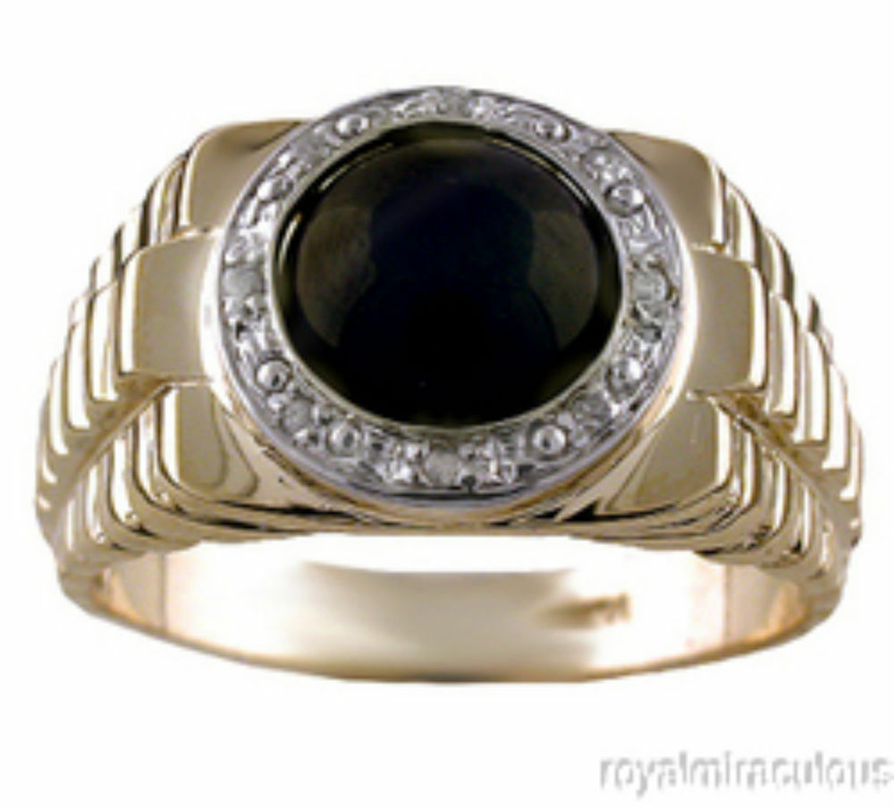 mens onyx ring gold plated sterling silver ebay