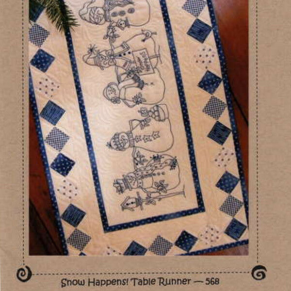 Snow happens table runner quilt hand embroidery pattern