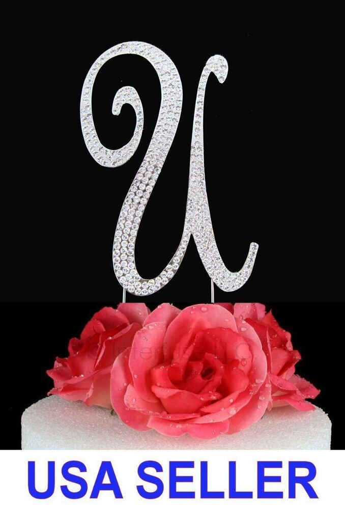 wedding cake toppers with rhinestones large rhinestone monogram quot u quot wedding cake topper 26640