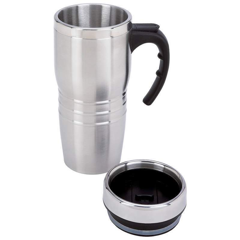 new 16oz insulated coffee travel mug stainless steel double wall thermos tumbler ebay. Black Bedroom Furniture Sets. Home Design Ideas
