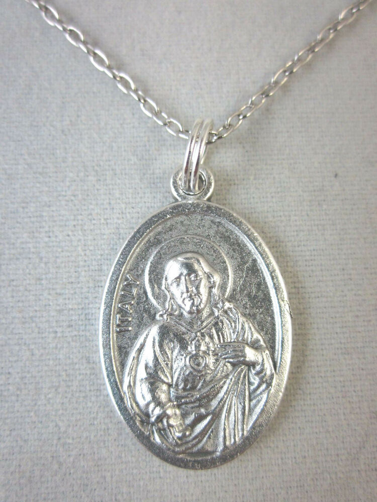 Sacred Heart of Jesus Medal Italy Pendant Necklace 20 ...