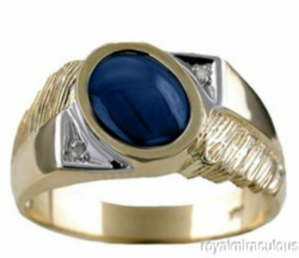mens diamond ring blue star sapphire 14k yellow gold ebay. Black Bedroom Furniture Sets. Home Design Ideas
