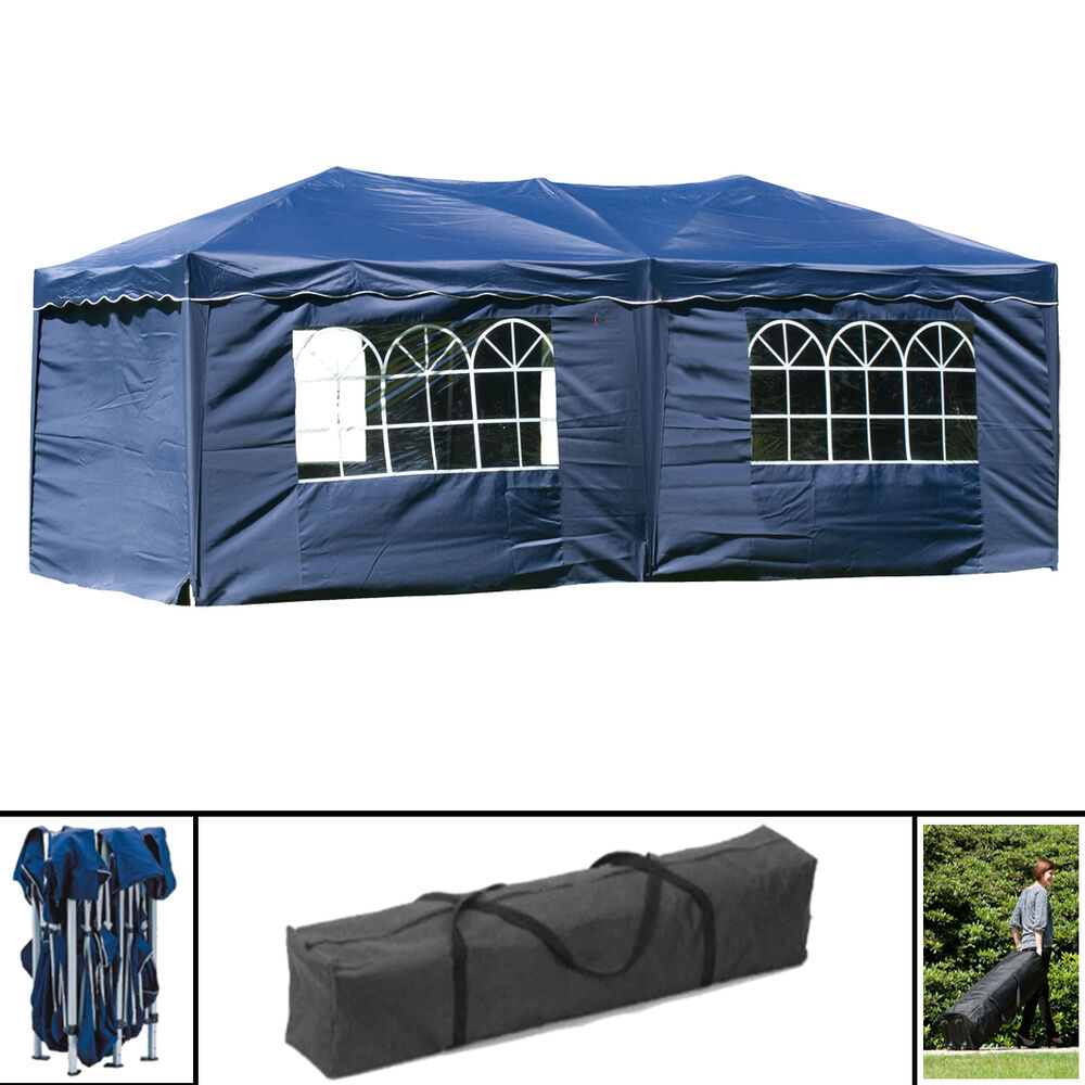 wasserdicht blau pavillon faltbar 3x6m hochwertig faltpavillon partyzelt seiten ebay. Black Bedroom Furniture Sets. Home Design Ideas