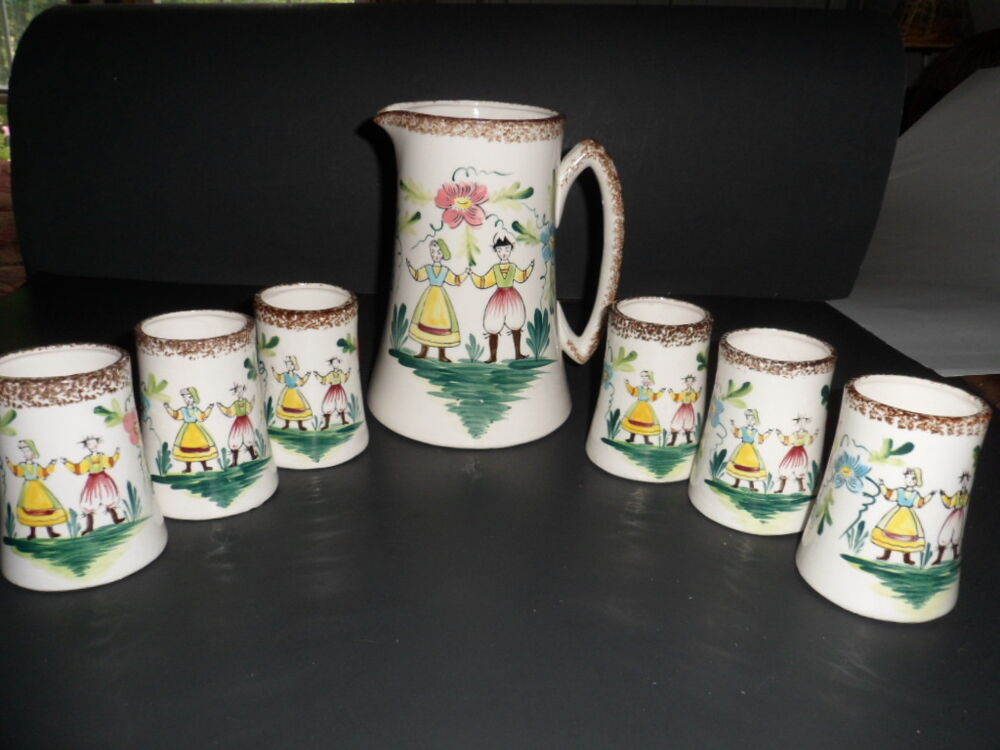 Vintage Pitcher And Juice Glass Set Japan Hand Painted