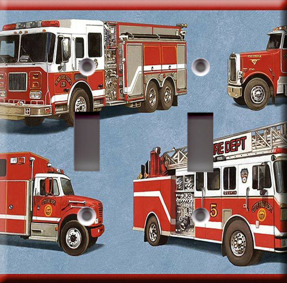 light switch plate cover red fire trucks rescue. Black Bedroom Furniture Sets. Home Design Ideas