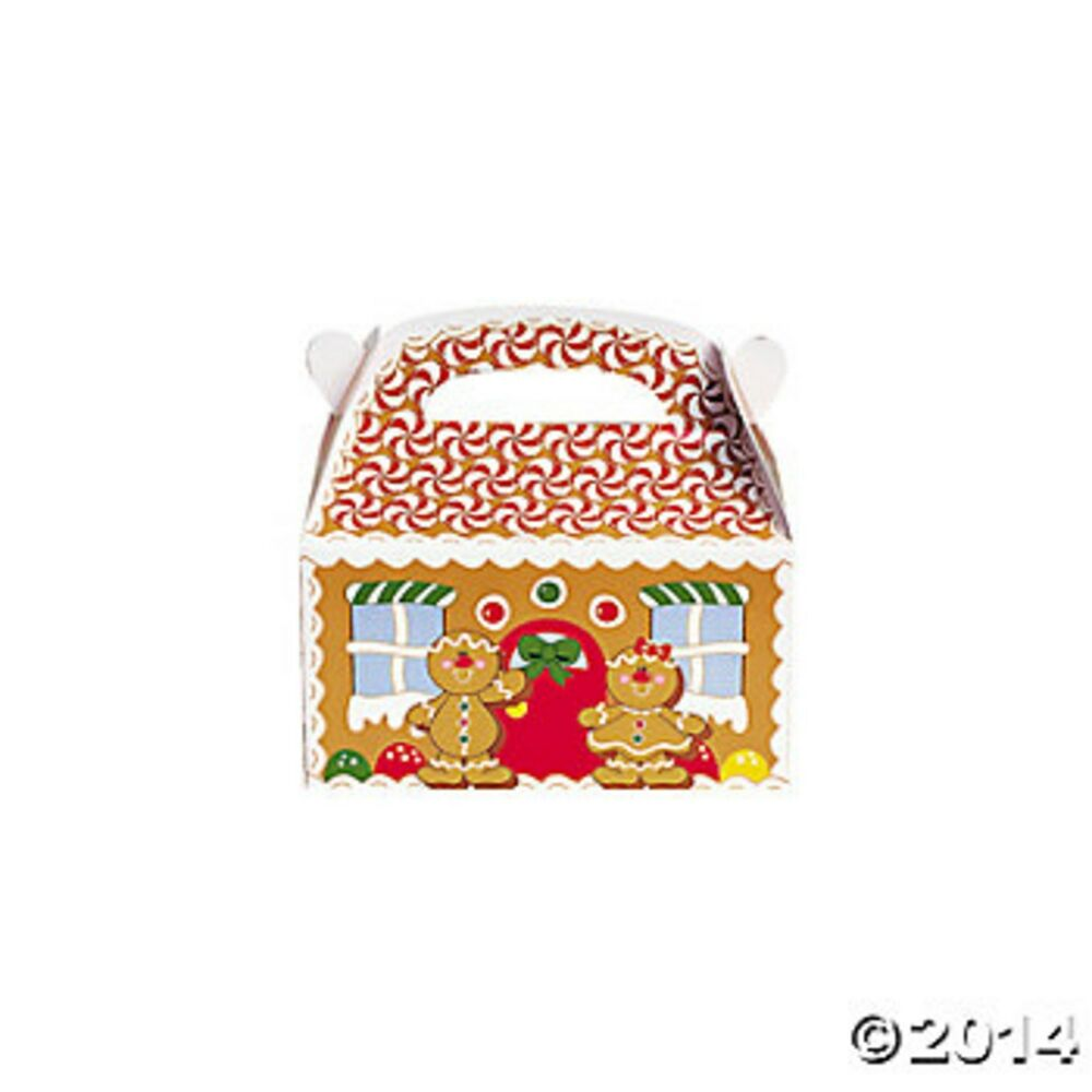 12 GINGERBREAD HOUSE TREAT GIFT BOXES WITH HANDLES ...