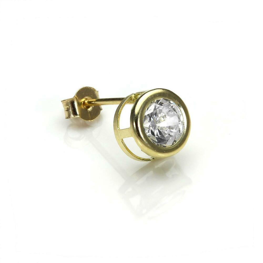 9ct Gold 6mm Round Crystal Rubover Single Earring Stud ...
