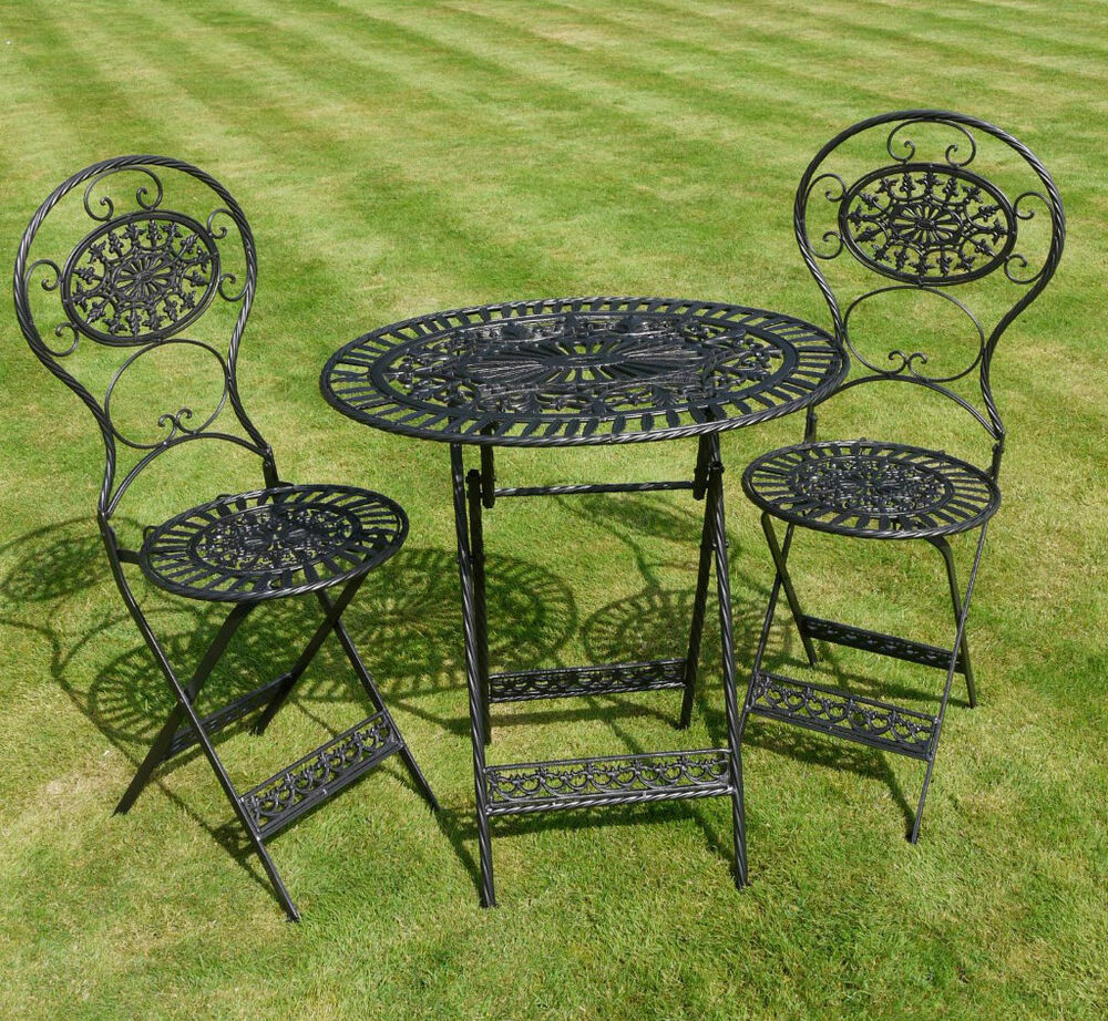 Shabby Chic Black Bistro Garden Set In Cast Iron Steel Table Chairs Ebay