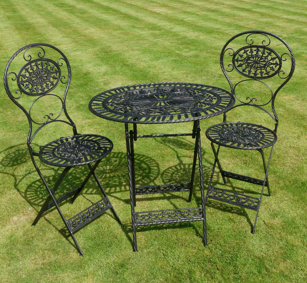 Shabby chic black bistro garden set in cast iron steel table chairs ebay Metal garden furniture sets