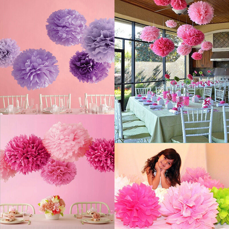 10stk papier pompon pompoms hochzeit party feier dekoration blumen ball kugel y ebay. Black Bedroom Furniture Sets. Home Design Ideas