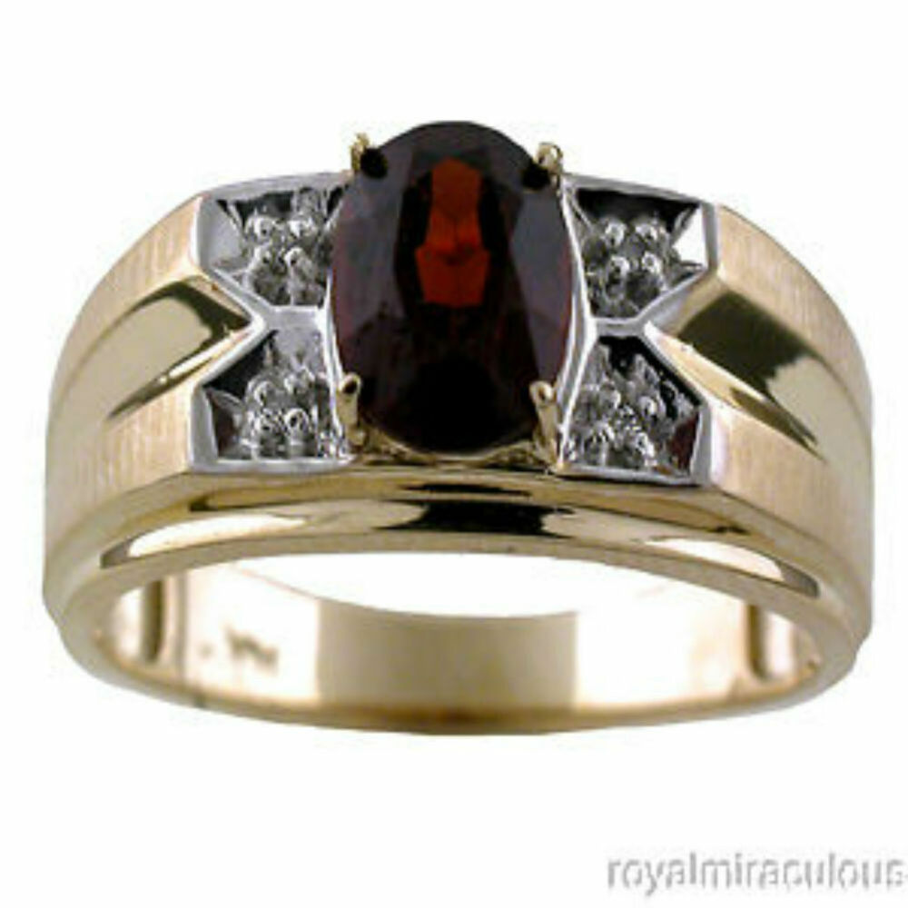 mens diamond ring garnet 14k yellow gold ring ebay. Black Bedroom Furniture Sets. Home Design Ideas